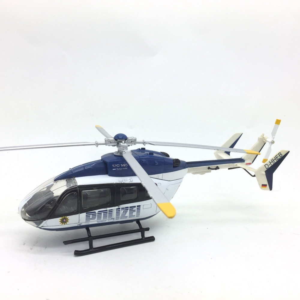 1 43 German police helicopter Aviation model Alloy aircraft model Length 23cm