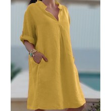 Plus Size Vintage V-Neck Beach Linen Dress Women Summer Solid Bohemian Streetwear Casual Knee Length Loose Dresses