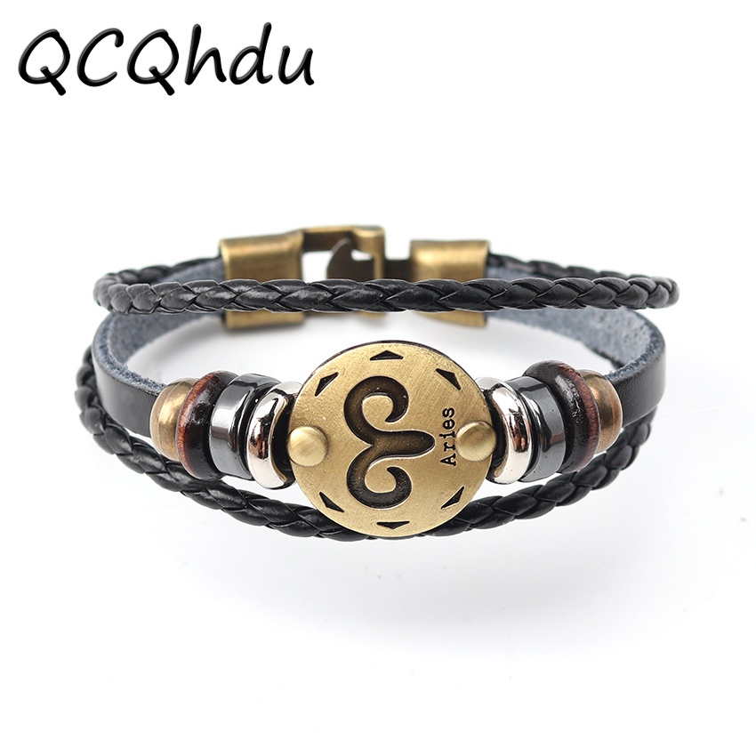 12 Constellations Bracelet New Fashion Jewelry Leather Bracelet Women Men Casual Personality Punk Bracelet