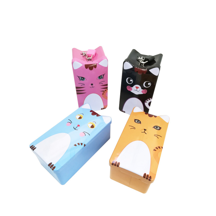 1PC Cute Cat Square Piggy Bank Logbook Series Tin Plate Box Money Saving Pot Coin Box Jewelry Box Storage Tank Gift LG 003