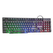 لوحة مفاتيح الألعاب السلكية SUNROSE K201 المزودة بمنفذ USB 104 مفتاح لوحة مفاتيح بـ 3 ألوان خلفية مقاومة للرش ومزودة بملمس بالسعة مع حزمة للعبة LOL