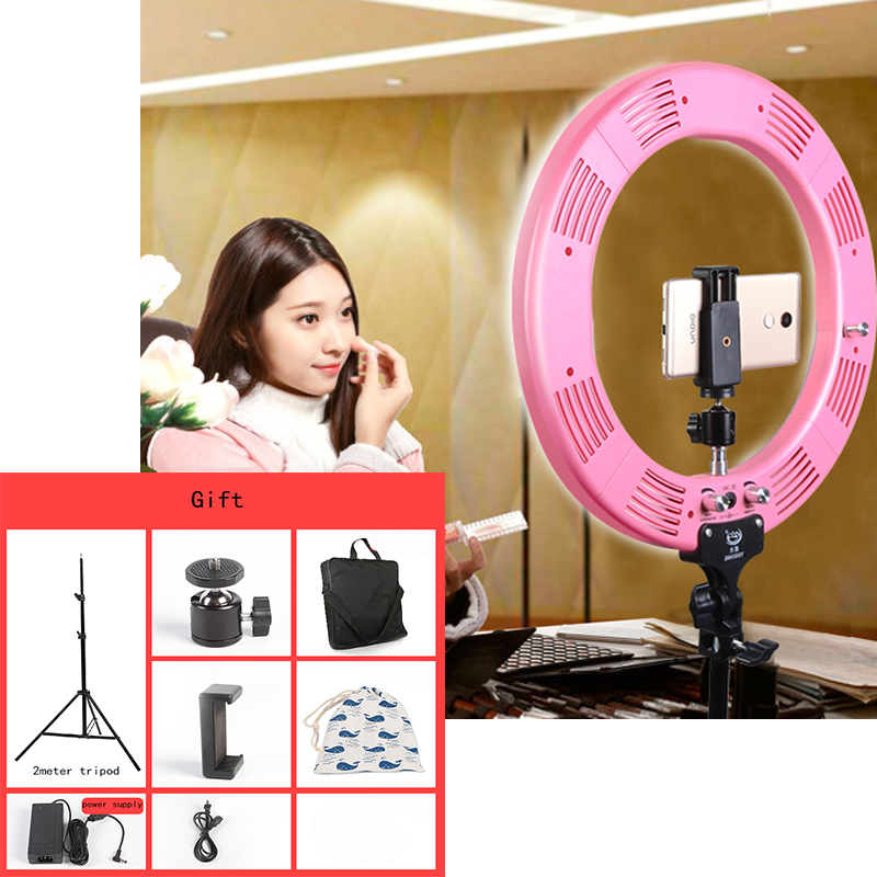 "Photo Studio 16"" 600pcs LED 3Color3200K-5600K Dimmable Photography Phone Video LED Ring Light Lamp With Tripod Stand For Camera"