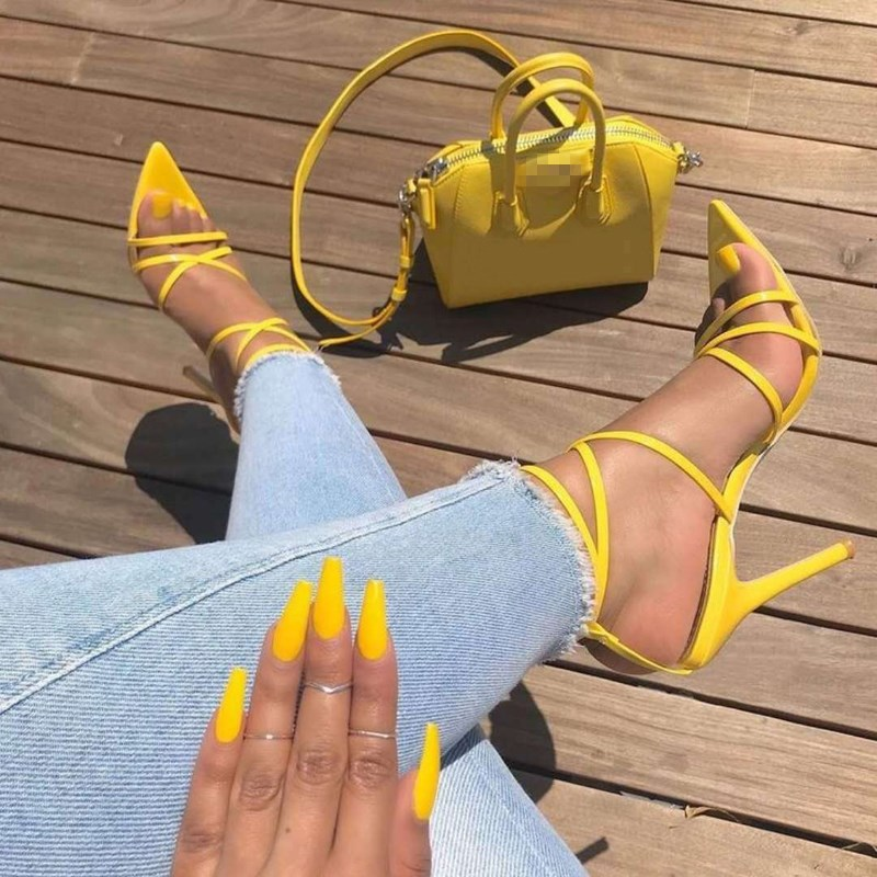 EOEODOIT Sandals High Stiletto Heels Open Toe <font><b>10</b></font> cm Party Club Heels Shoes Women <font><b>Sexy</b></font> Stylish Yellow Red Pumps Plus Size image