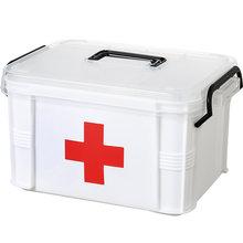 2 레이어 다기능 스토리지 박스 처리와 응급 처치 키트 주최자 휴대용 키트 가정용 의료 키트에 대 한 PP 플라스틱 마약