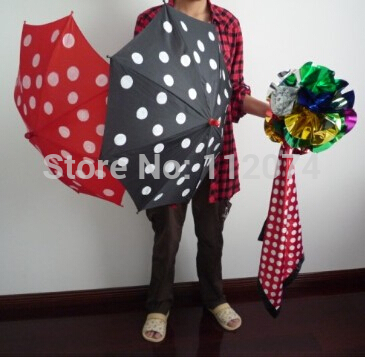 Polka Dot Silk & Umbrella sets - Magic Tricks,Stage,Illusion,Gimmick,Props,Mentalism,Classic Toys polka dot silk