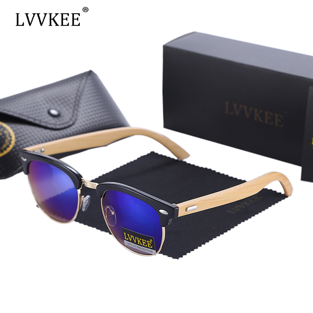 LVVKEE brand design sunglasses women half frame Clubmaste sunglasses men Multi color high quality M nail sunglasses bamboo wood