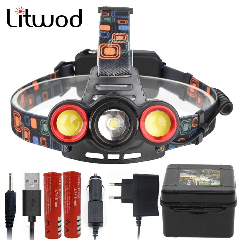 Intellektuell Litwod Z201183 Led Scheinwerfer Xm-l T6 Cob Zoom Objektiv Kopf Lampe Taschenlampe Leistungsstarke 6000 Lumen Durch 18650 Batterie Wiederaufladbare Scheinwerfer