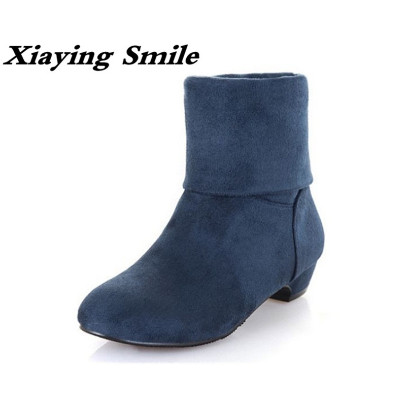 Xiaying Smile Winter Style Women Boots Warm Antieskid Ankle Boots Slip On Flats Round Toe Shoe Fashion Casual Flock Rubber Boots xiaying smile winter women snow boots warm antieskid mid calf boots platform strap slip on flats casual women flock rubber shoes