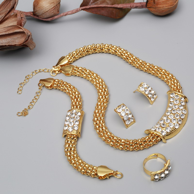 Jewelry-Sets Dres-Accessories-Set African-Beads Bridal-Fine-Crystal Wedding Pendants