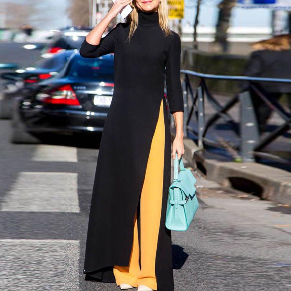 Women Fashion Plus Size Maxi Dress Asymmetrical Western Style Turtleneck Pullover Stretchy Black Knitting Oversize Long Dress Платье