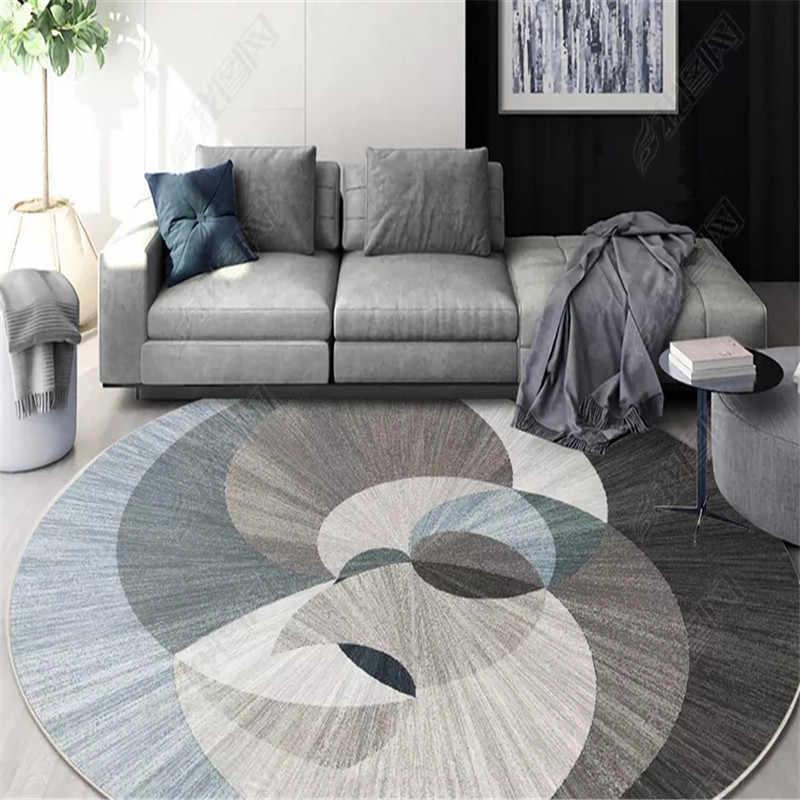 Круглые ковры в скандинавском стиле для гостиной, коврики с геометрическим рисунком, Противоскользящие коврики для детской комнаты, домашний коврик для спальни, детский коврик для ползания