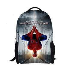2016 fashion gift cartoon backpack with zipper fashion style boy cool spiderman bag school for kid