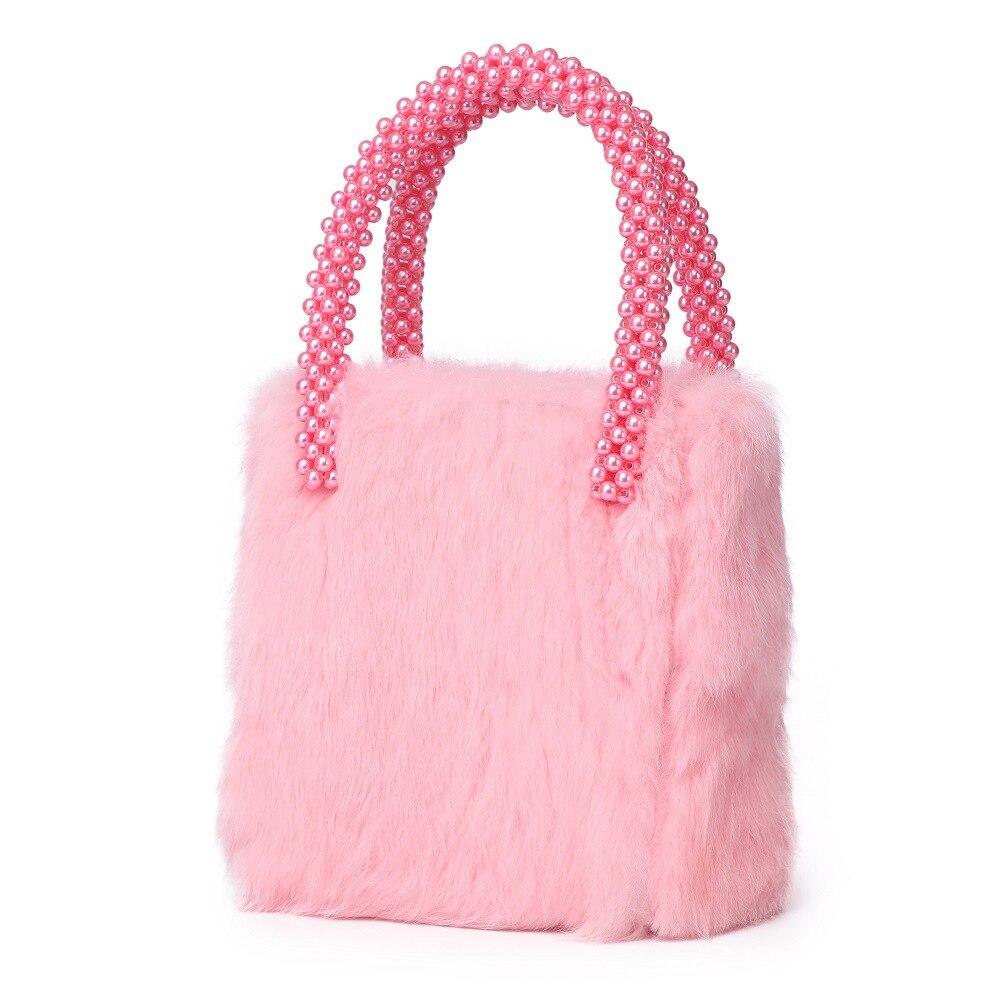Rose lapin cheveux femmes sac 2019 printemps nouvelle perle poignée rose laine luxe marques Designer Style dames soirée fête fourre-tout