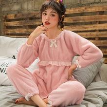 Nursing Pajamas Maternity Nightwear Pregnancy Clothes Winter Flannel Soft Comfortable Breastfeeding Homewear Set A209