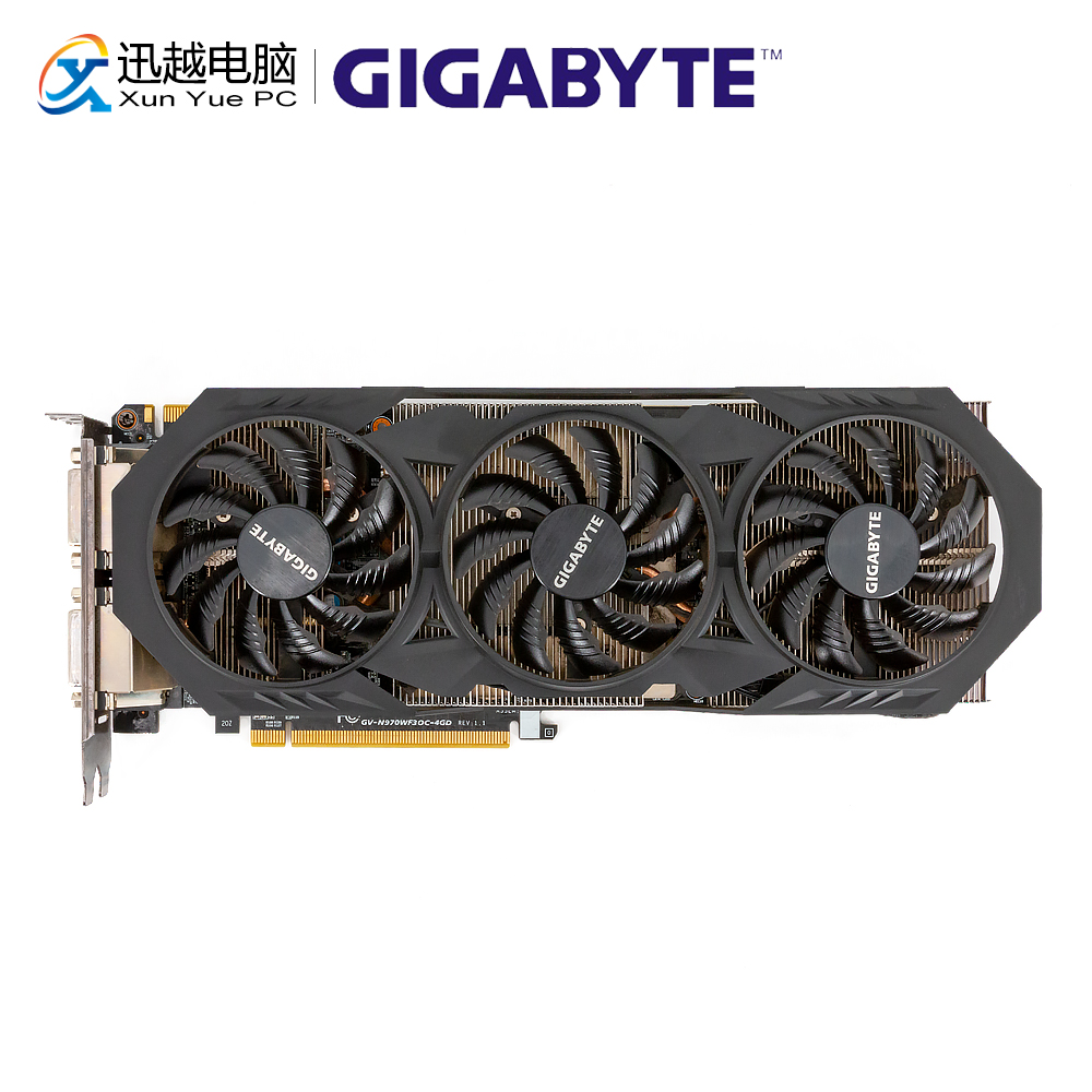 Gigabyte GV-N970WF3OC-4GD Original Graphics Cards 256Bit GTX 970 4G GDDR5 Video Card 2*DVI 1*HDMI 3*DP For Nvidia GeForce GTX970