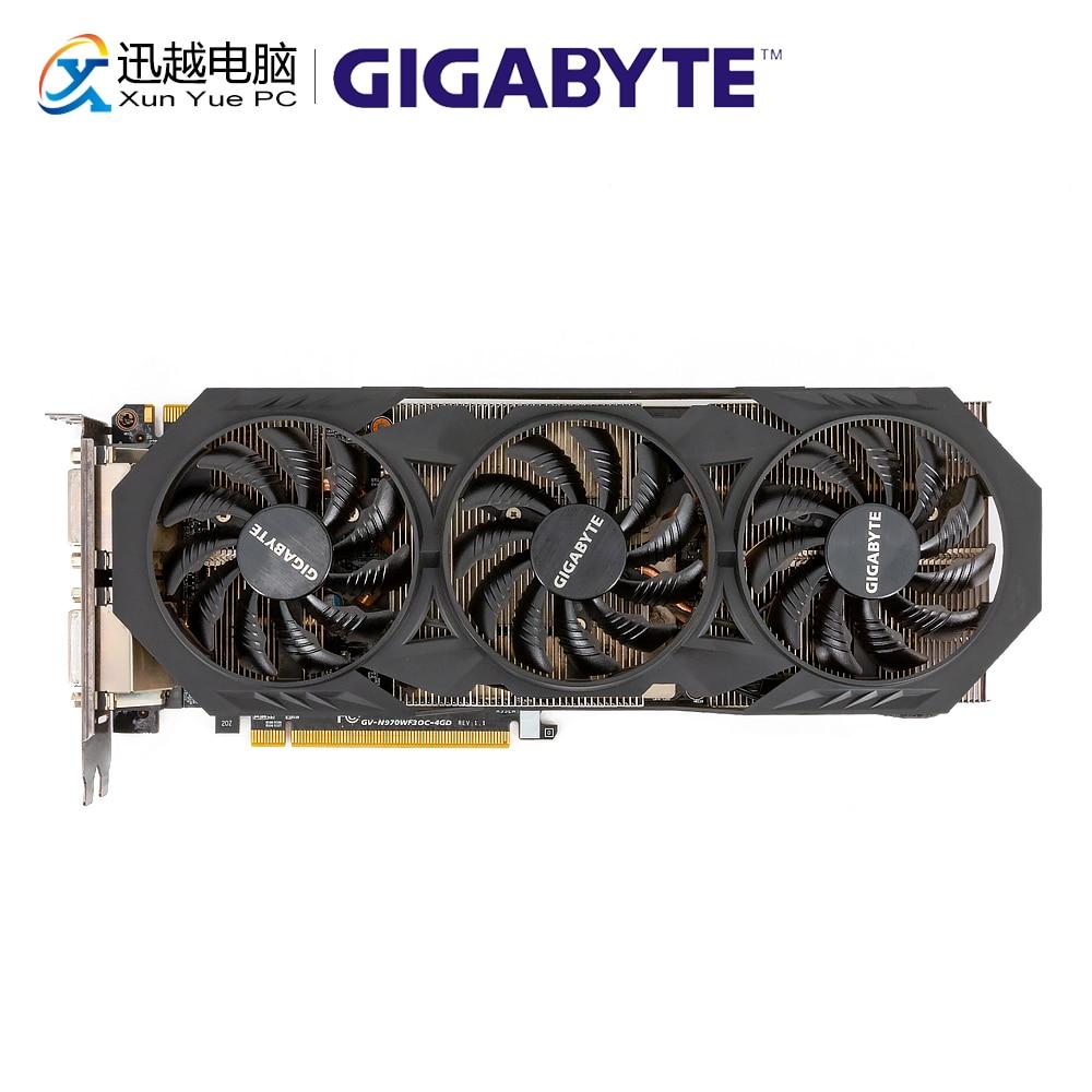Gigabyte GV-N970WF3OC-4GD cartes graphiques d'origine 256Bit GTX 970 4G GDDR5 carte vidéo 2 * DVI 1 * HDMI 3 * DP pour Nvidia GeForce GTX970