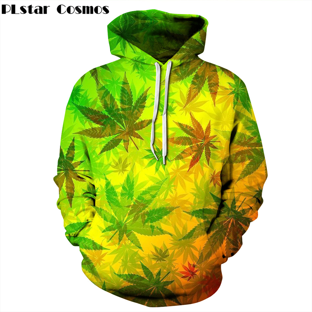 PLstar Cosmos Free shipping 2017 New Fashion 3D Hoodies colour Weeds printing Men/Women Streetwear casual hooded sweatshirts