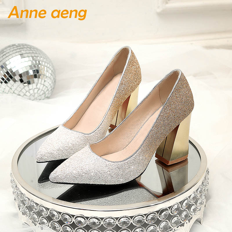 New Women Shoes High Square Heels Pointed Toe Shallow Sexy Ladies Bling Bridal Wedding Shoes Gold