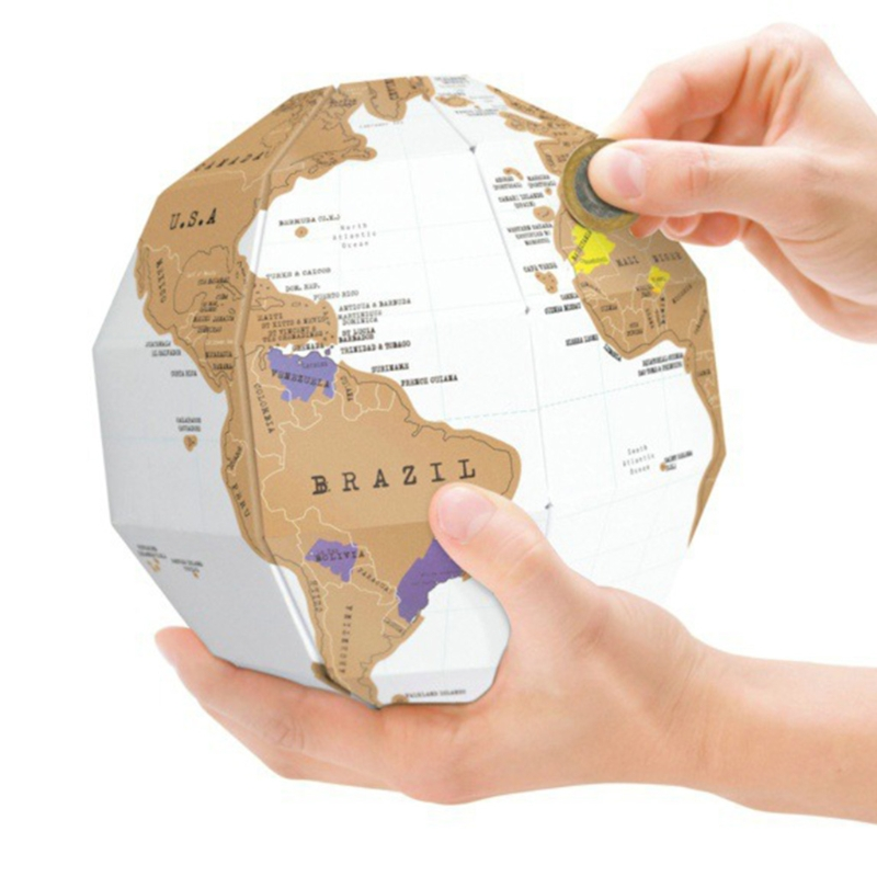 1PCS DIY Scratch Map 3D Kawaii Stereo Assembly Globe World Map Travel Kid Toy Child Gift School Office Supply