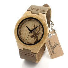 BOBO BIRD F29 Ladies Wooden Bamboo Watches Deer Head Engraving Design Women Quartz Wristwatch in Gift Box horloges vrouwen 2016