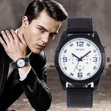 купить Relogio Masculino Men Watch Luxury Brand Men Military Sport Waterproof Wristwatch Geniune Leather Quartz Watch erkek kol saati дешево