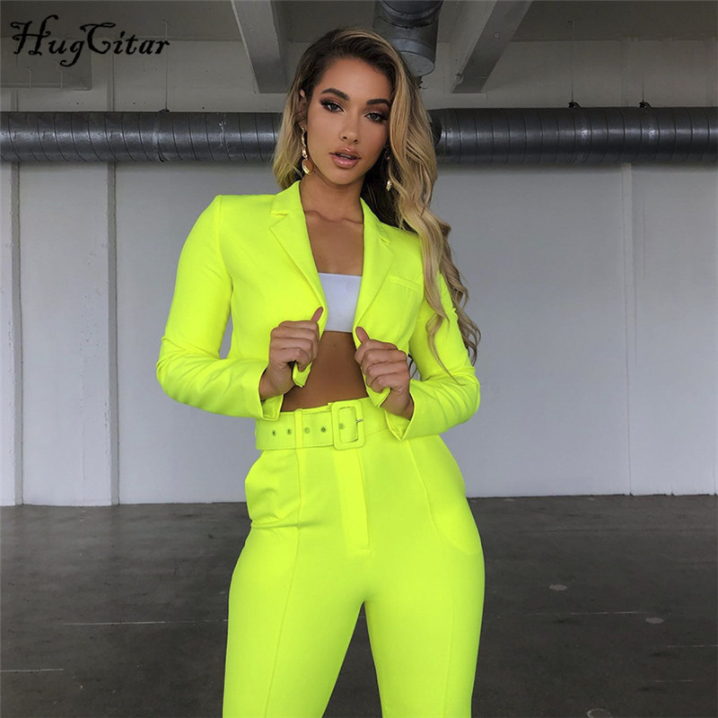 Hugcitar Neon 2 Two Piece Crop Tops Pants Set 2019 Summer Women Fashion Outfits Trousers Sets Tracksuit Streetwear