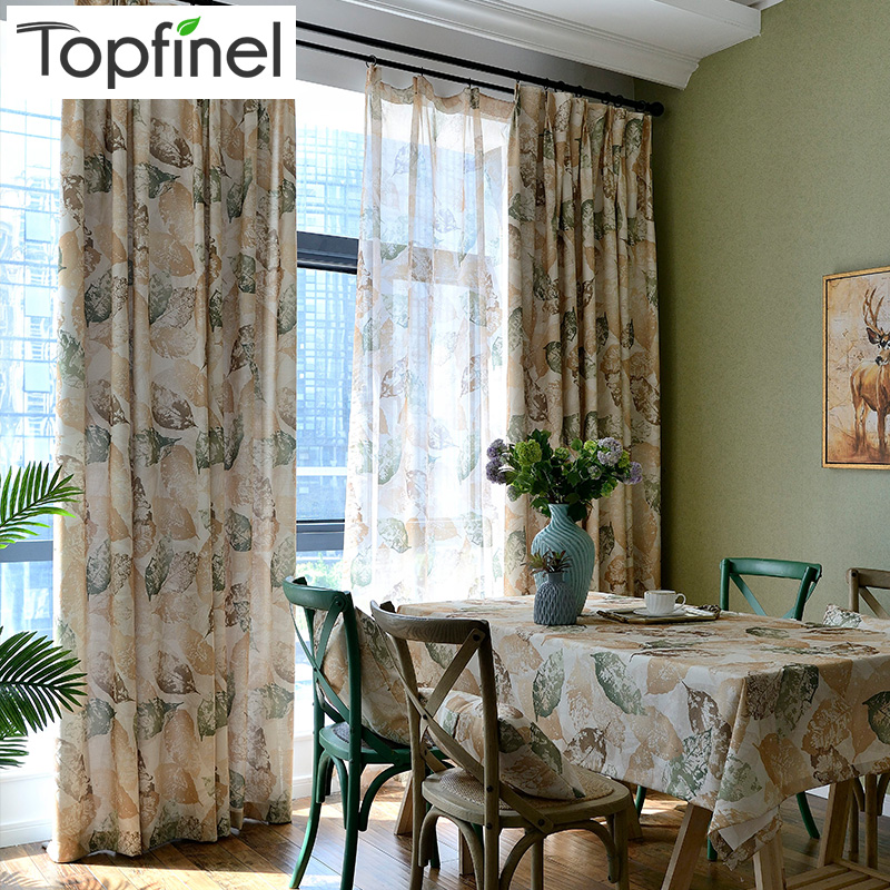Vintage Leaf Pattern Window Curtains For Living Room Bedroom Kitchen Curtain Drapes Panel American Style Blue & Brown