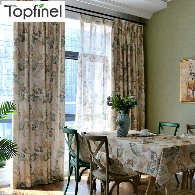 Vintage Leaf Pattern Window Curtains For Living Room Bedroom Kitchen Curtain  Drapes Panel American Style Blue