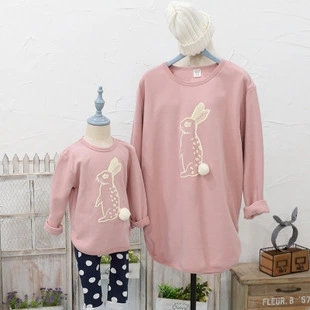 In stock family look clothing cute rabbit cotton printing family matching clothes mother and daughter dresses family outfits