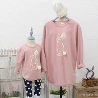 Korean Children S Parents Installed New Winter Cute Bunny Cotton Printing Mother Dad And Daughter Son