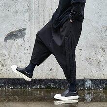 Мужские кимоно в японском стиле, шаровары, брюки темно-черного цвета, Свободные повседневные, с низкой промежностью, кросс-брюки, мужские уличные, хип-хоп, панк брюки в готическом стиле