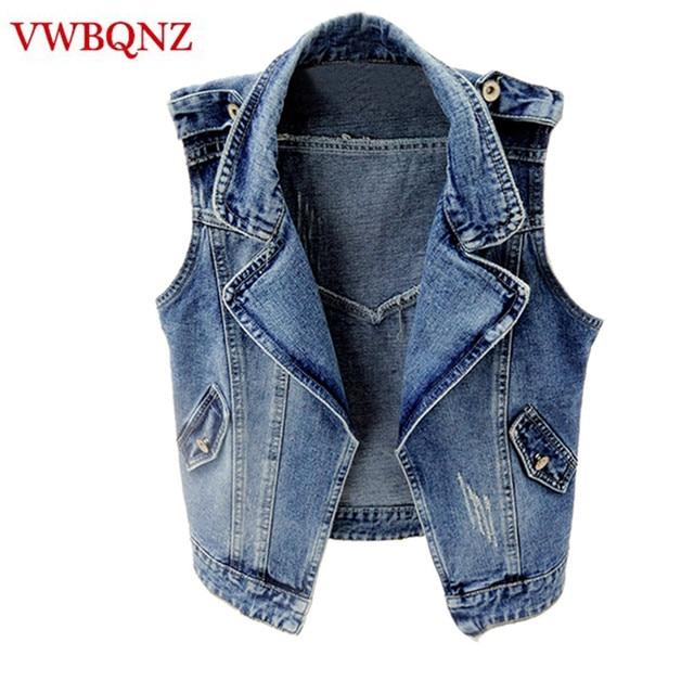 96b1ba57a685e5 Spring-Summer Women Jeans Jacket Short Vest Outerwear Korea Slim Sleeveless  Denim Jacket Casual Female Waistcoats Plus Size 4XL