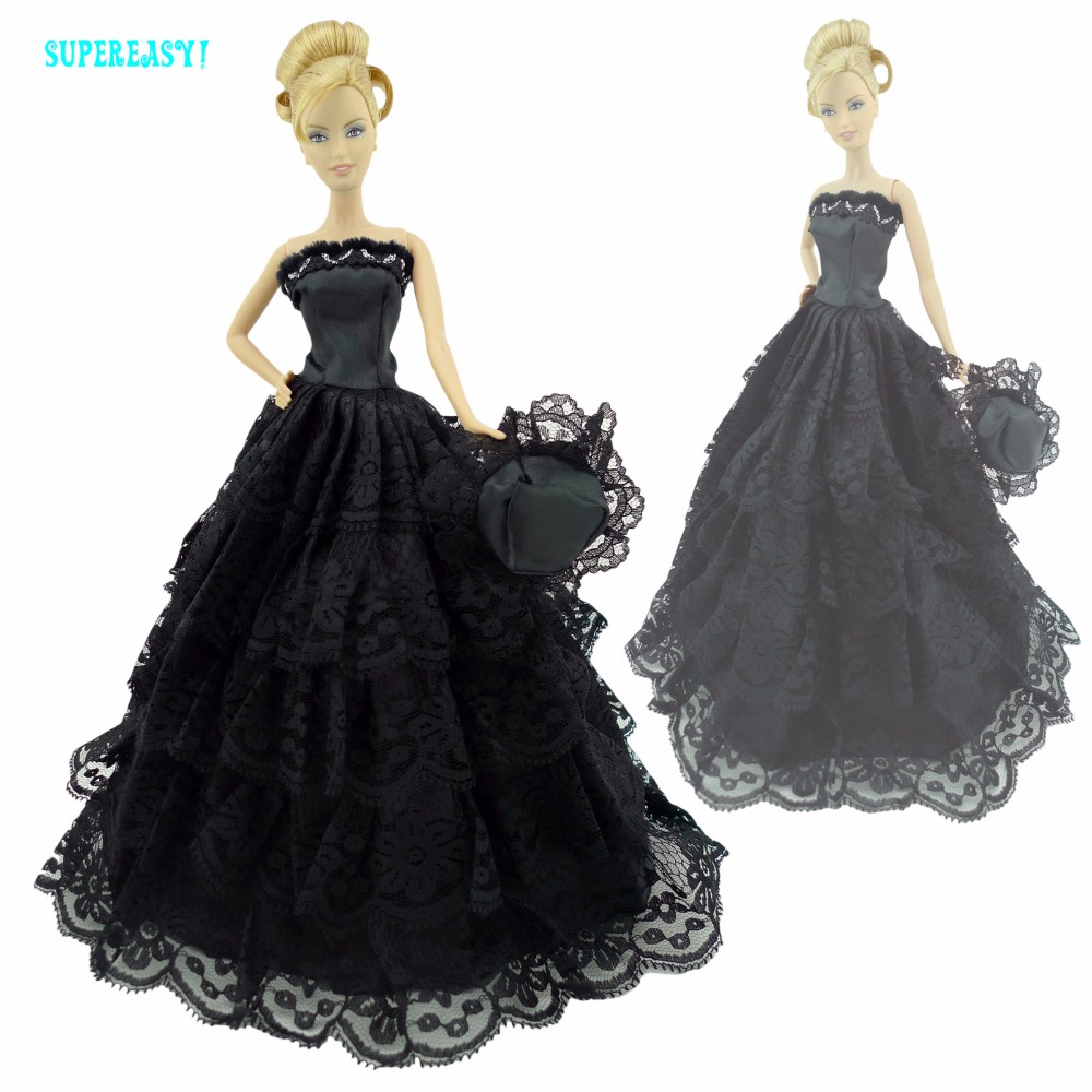 Style Black Ball Robe Princess Strapless Costume With Hat Occasion Garments For Barbie Doll 12″ Kurhn Clothes Equipment Toy Present