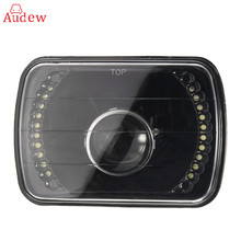 1Pcs H6014/H6052/H6054 7x6Inch Black LED Ring Projector Headlight Black Conversion Shell For GMC/Savana/Jeep/Mazda/Mercedes/Benz