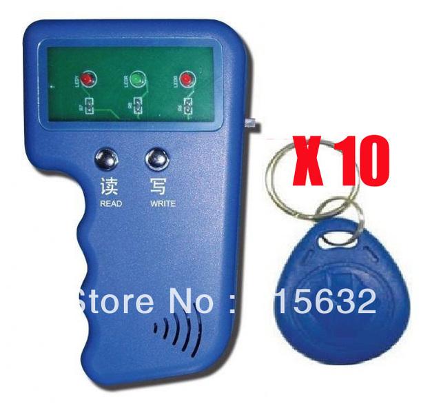 Escritor Leitor RFID 125 KHz Cartão de IDENTIFICAÇÃO duplicador Keyfob Duplicate/Copy Sistema Porta + 10 Berloques Chave EM4305