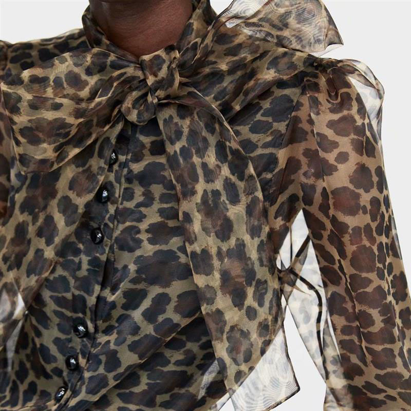 5180b360be3760 2018 spring new women's casual trend animal print stamp bow blouse female  shirt Leopard print tops -in Blouses & Shirts from Women's Clothing on ...