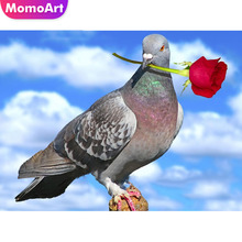 MomoArt Diamond Embroidery Letter pigeon painting Full Square Rhinestone Mosaic Animal Home Decoration