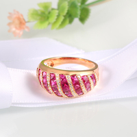 Ruby Unique Luxury 18K Rose Gold Engagement Rings Luxury Natural Ruby and Diamond Fashion Jewelry Wedding Ring For Women