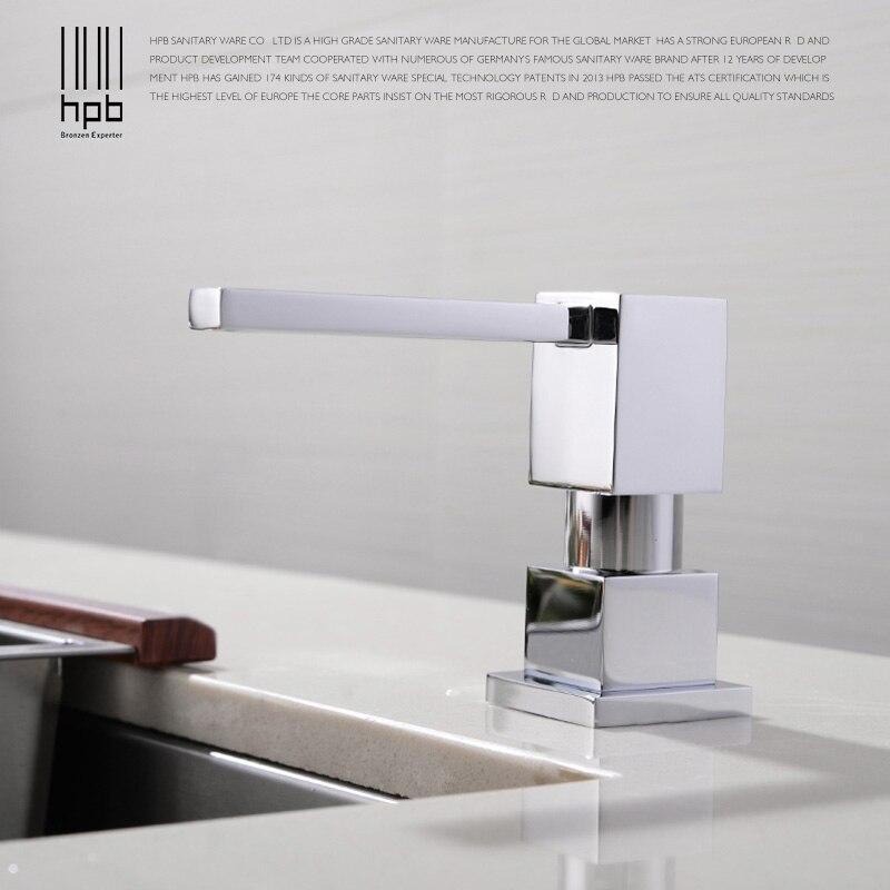 HPB Distributori di Sapone Da Cucina Deck Mounted Chrome Sapone Lucidato Dispenser per Cucina Costruito in Controsoffitto Dispenser H4501