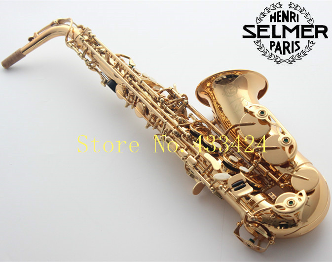 French Selmer 54 E Flat Alto Saxophone Eb Top Musical Instrument Saxe Plated Gold Process Sax Professional good quality saxofone brand suzuki eb alto saxophone as 500n drop e saxophone surface to electroplating black nickel gold the paint sax instrument