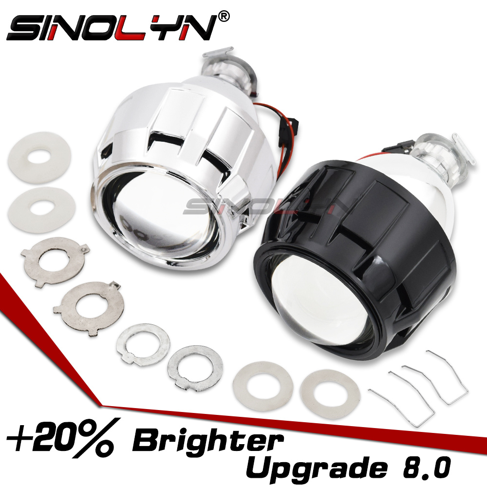 Sinolyn Bixenon Projector Headlight Lenses 2.5'' Mini 8.0 H1 HID For H4 H7 9005 9006 Car Lights Accessories Motorcycle Retrofit