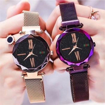 2019 Women Watches Luxury Brand Starry Sky Magnet Watch Dress Relojes Women Elegant Quartz Ladies Wrist Watch For zegarek damski đồng hồ gucci dây nam châm