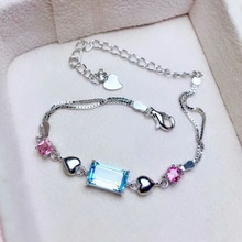 shilovem 925 sterling silver blue topaz link bracelets fine jewelry classic women plant new party gift 4*6mm ml040609agb
