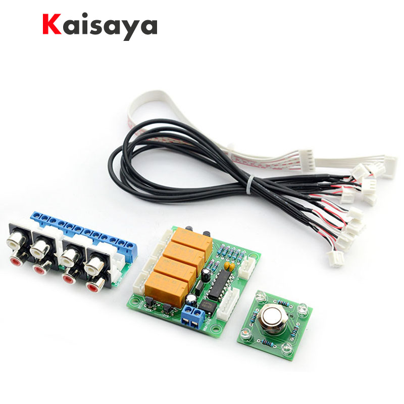 Relay 4 way Audio Input Signal source Selector Switching RCA Audio Switch Input Selection Board DIY kits for amplifier B7-004 band switching signal switch 3 knives 4 files