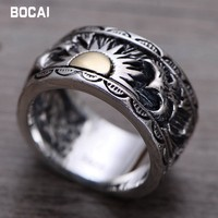 S925 sterling silver male ring Indian eagle wings sun totem Thai silver ring
