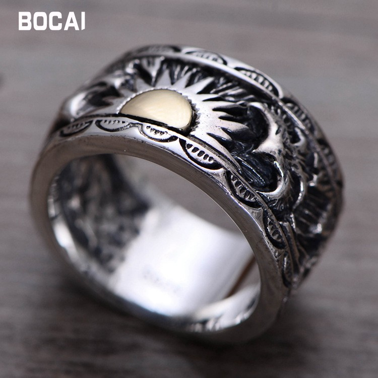 S925 sterling silver male ring Indian eagle wings sun totem Thai silver ring silver wings silver wings 010022v1 5 186