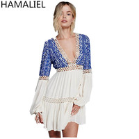 HAMALIEL Summer Dress 2018 Casual Sexy Cotton Free Style People Embroidery Hollow Out Bohemian Deep V Neck Beach Dress Vestidos