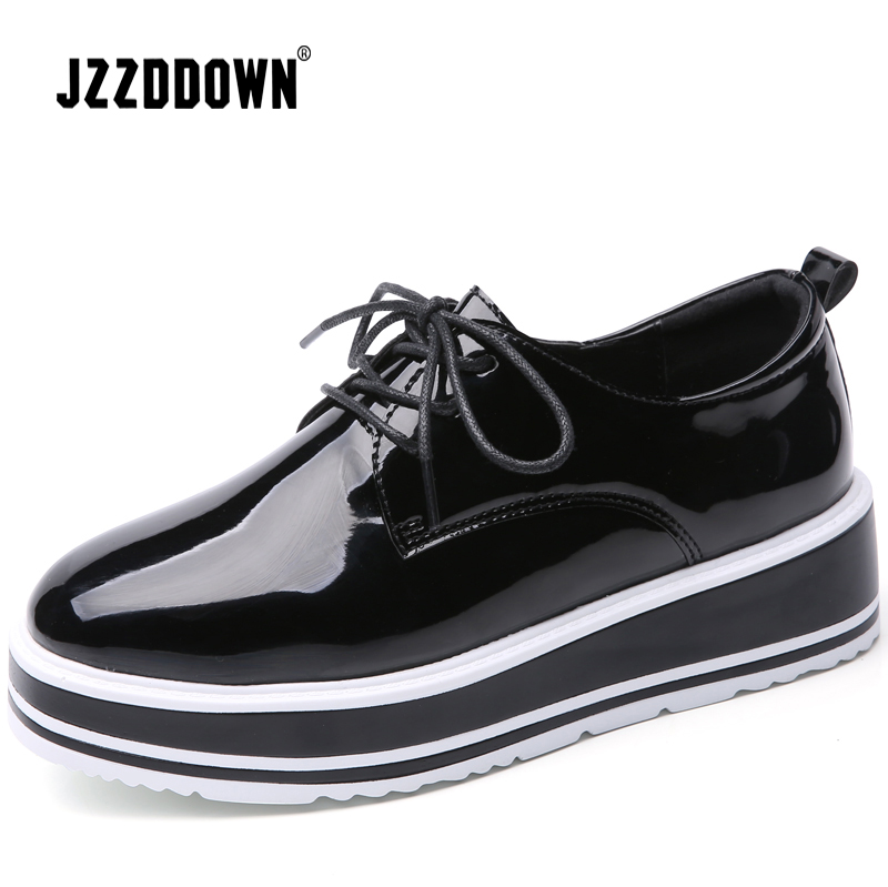 JZZDDOWN women's shoes Genuine   Leather   Luxury Platform shoes woman Lace Up Female Loafer Pig   Suede   Ladies Oxford shoes for women