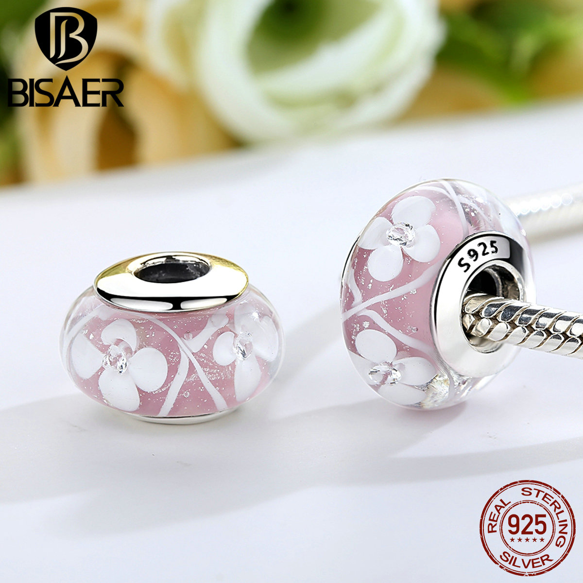 Genuine 925 Sterling Silver Pink Field Of Flowers Murano Glass Beads Fit PAN Charm Bracelet Authentic Silver Jewelry S925