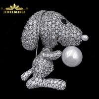Super Cute Micro Pavimenta Sereno CZ Occhi Neri Cane Spille Tono argento Deco Imitato Perla Naso Cucciolo Pins Bella Pecorina gioielli